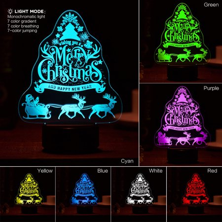 Glowing Christmas Tree 3D Night Light Desk Lamp 7 Colors Christmas Gifts](Glowing Ball Night Light)
