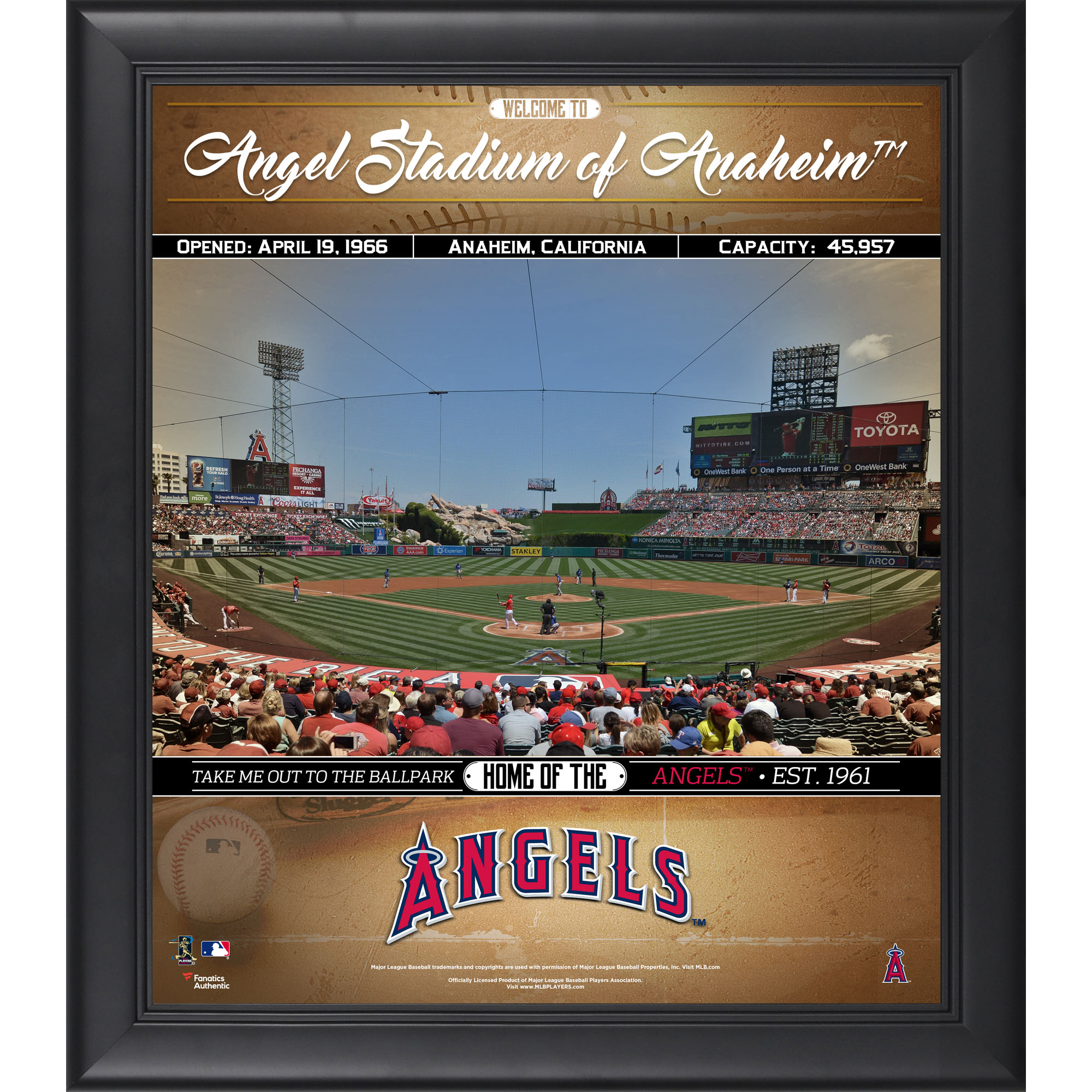 """Los Angeles Angels Fanatics Authentic Framed 15"""" x 17"""" Welcome to the Ballpark Collage - No Size"""