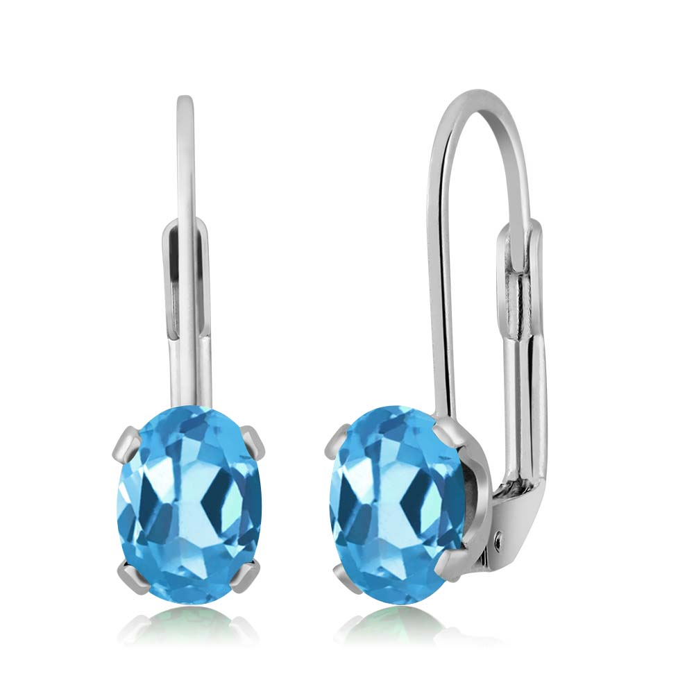1.60 Ct Oval Swiss Blue Topaz Silver Plated 4-prong Leverback Earrings 7x5mm