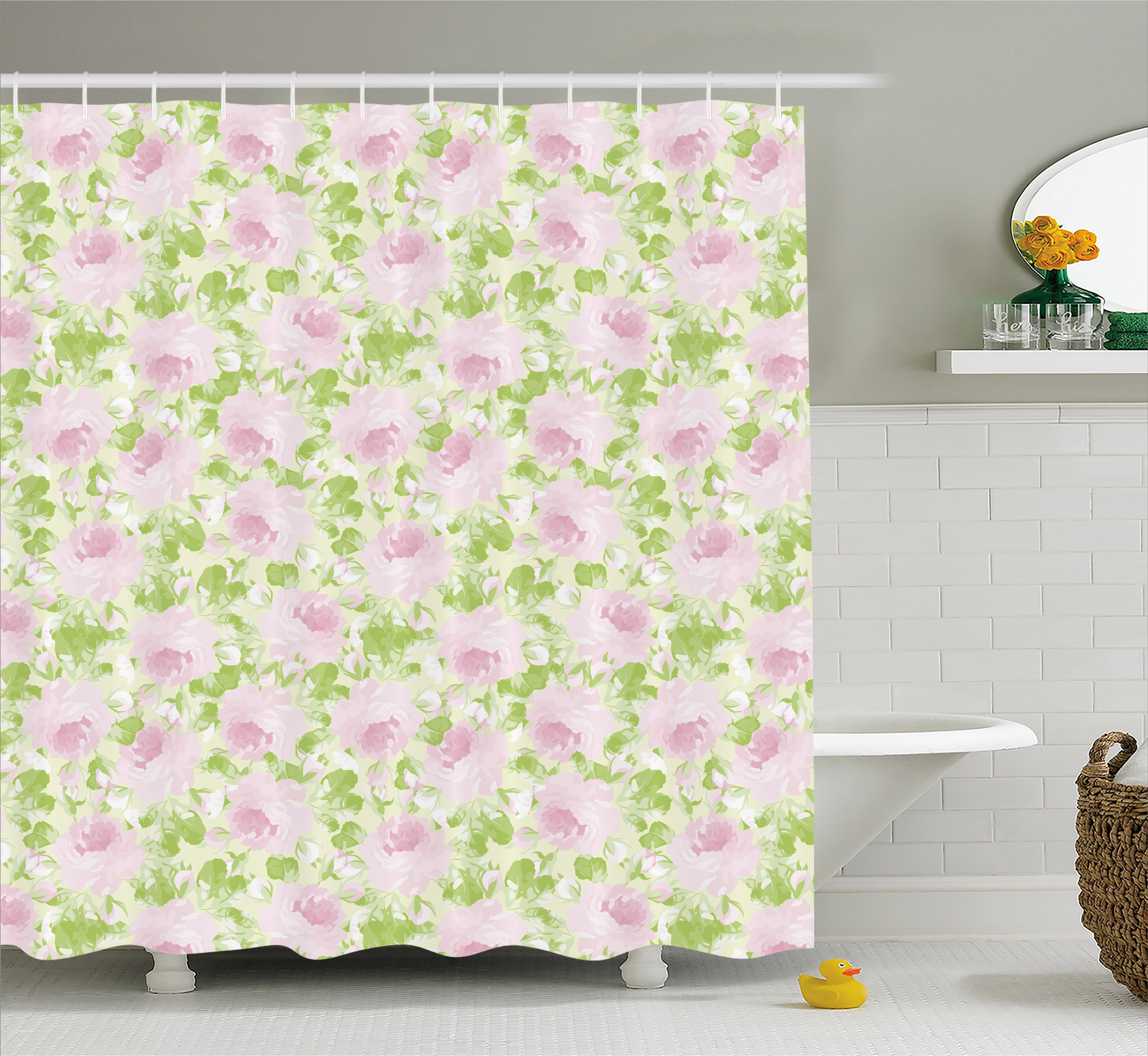 Shabby Chic Shower Curtain, Classical Spring Yard Florescence Pastel Colored Flourish Pattern, Fabric Bathroom Set with Hooks, 69W X 75L Inches Long, Pale Pink Pale Green, by Ambesonne