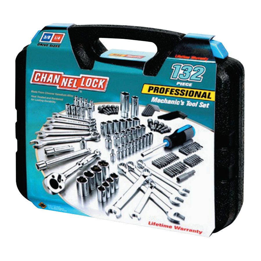 "132 Pc. Mechanic's Tool Set, Chrome Vanadium, 3/16""-3/4"", 4mm-19mm, Metric/SAE"