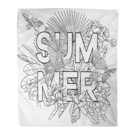 ASHLEIGH Flannel Throw Blanket Adult Coloring Book Page Word Summer and Tropical Birds Soft for Bed Sofa and Couch 58x80 Inches