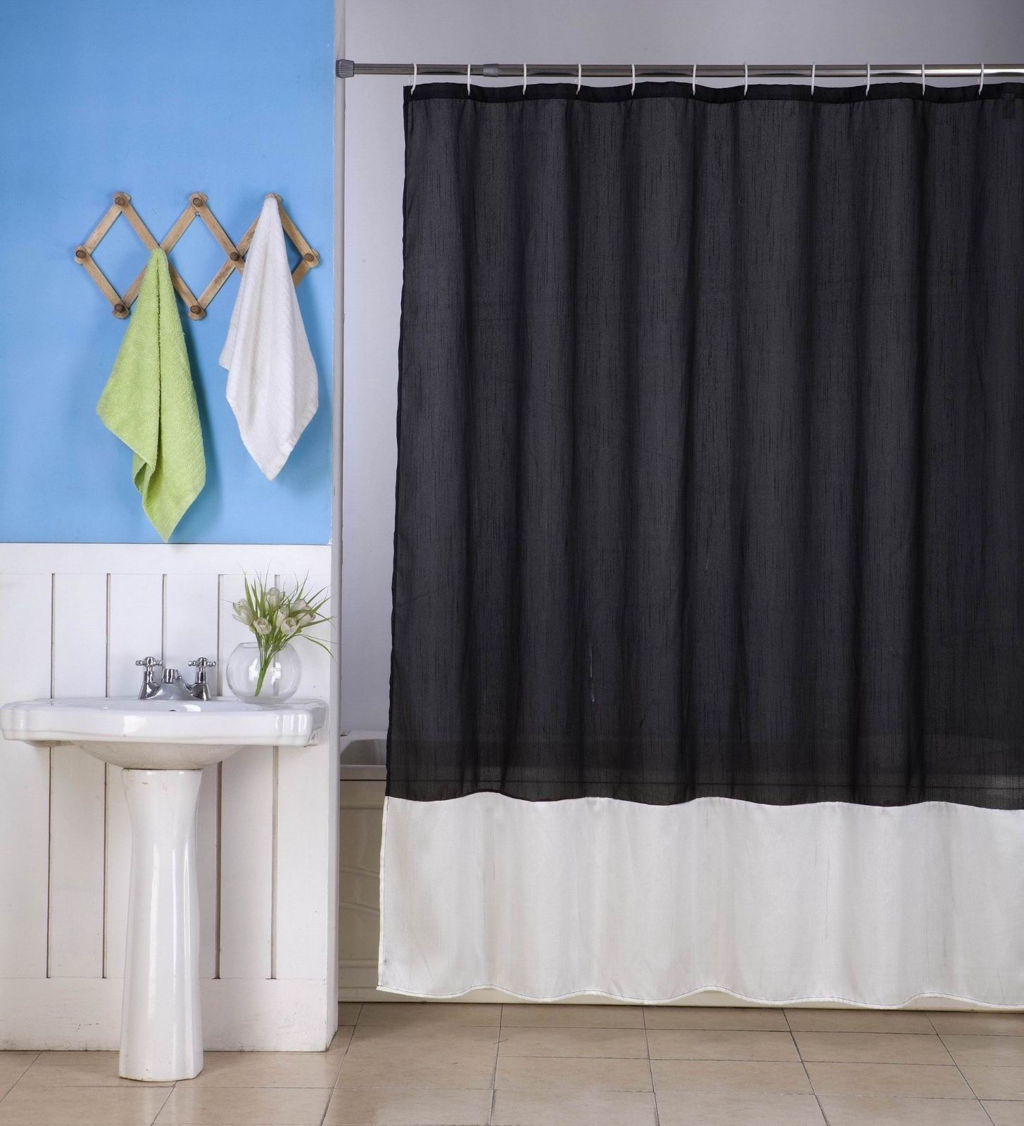 "1PC (H10) BLACK IVORY FAUX SILK 2 SHADES SOLID BATHROOM  BATH FABRIC SHOWER CURTAIN  WATER REPELLENT 72"" X72"""