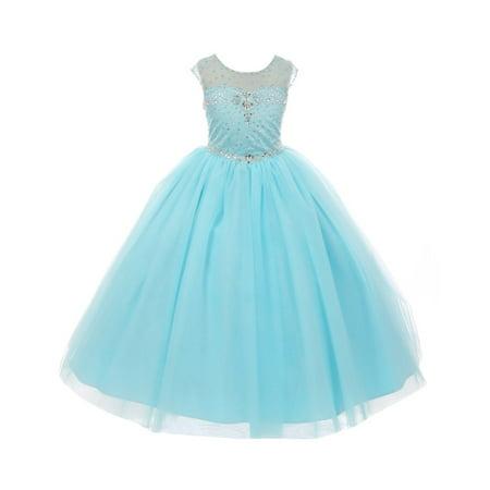 - Rain Kids Little Girls Aqua Illusion Sequin Rhinestone Tulle Pageant Dress