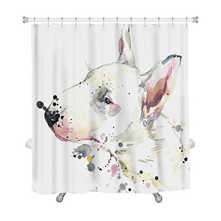 GreenDecor Gear Image Of Bull Terrier Dog Tshirt Graphics Dog Waterproof Shower Curtain Set with Hooks Bathroom Accessories Size 66x72 (Dog Window Graphics)