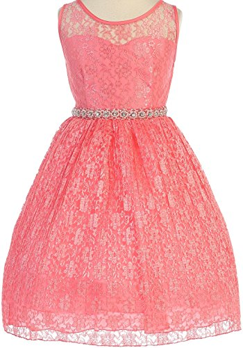 Big Girls' Sweetheart Illusion Top Lace Flowers Girls Dresses Coral 10 (J36K25)