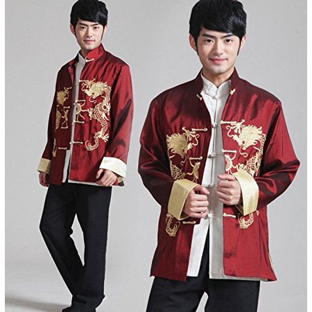 THY COLLECTIBLES Traditional Chinese Embroidered Silk Kung-Fu Tang Jacket  Coat Tai Chi Uniform Double Dragon (Red, Asian M = US S)