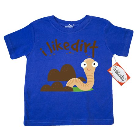 Inktastic I Like Dirt Earthworm Toddler T Shirt Worm Funny Kids Boys Bug Insect Animals Cute Tees  Gift Child Preschooler Kid Clothing Apparel Hws
