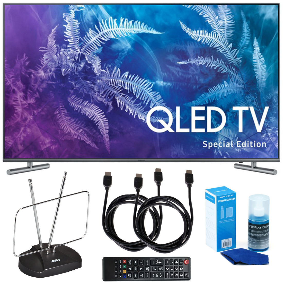 "Samsung QN49Q6FAMFXZA Special Edition 49"" Class Q6F QLED 4K TV (2017 Model) with HDTV and FM Antenna, Two 6 Foot HDMI Cables, And Professional Screen Cleaning Kit Bundle"