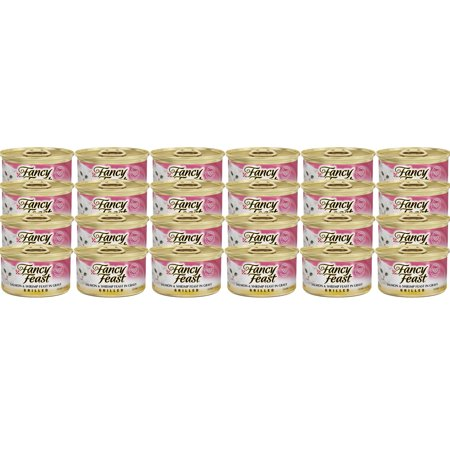 (24 Pack) Fancy Feast Grilled Salmon & Shrimp Feast in Gravy Cat Food 3 oz. Can (Fancy Feast Cat Food In Gravy)