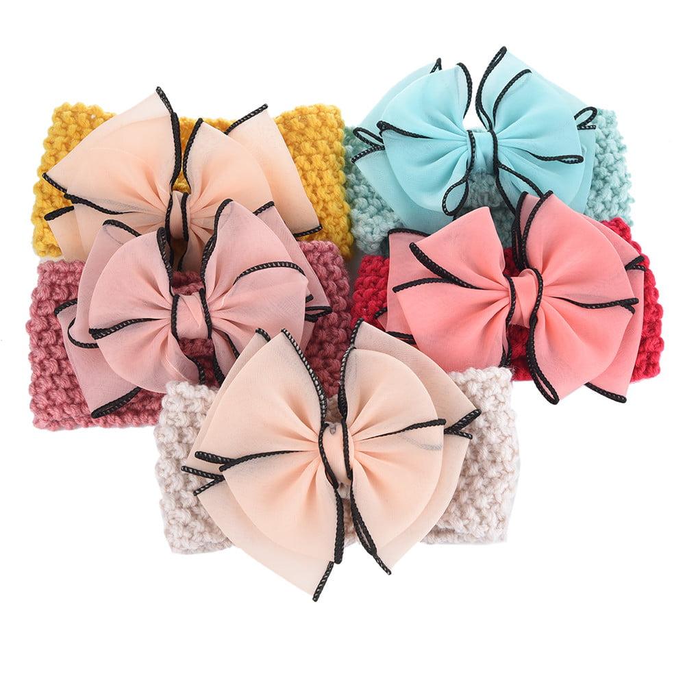 Mosunx 5PCS Wool Knitting Fabrics Bows Infant Headbands Baby Girls Headbands For Girls