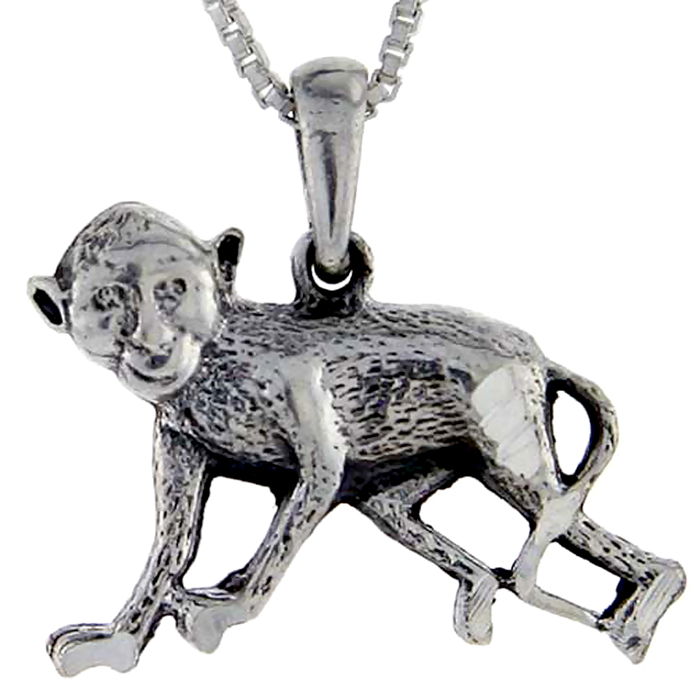 Sterling Silver Monkey Pendant, 1 inch tall