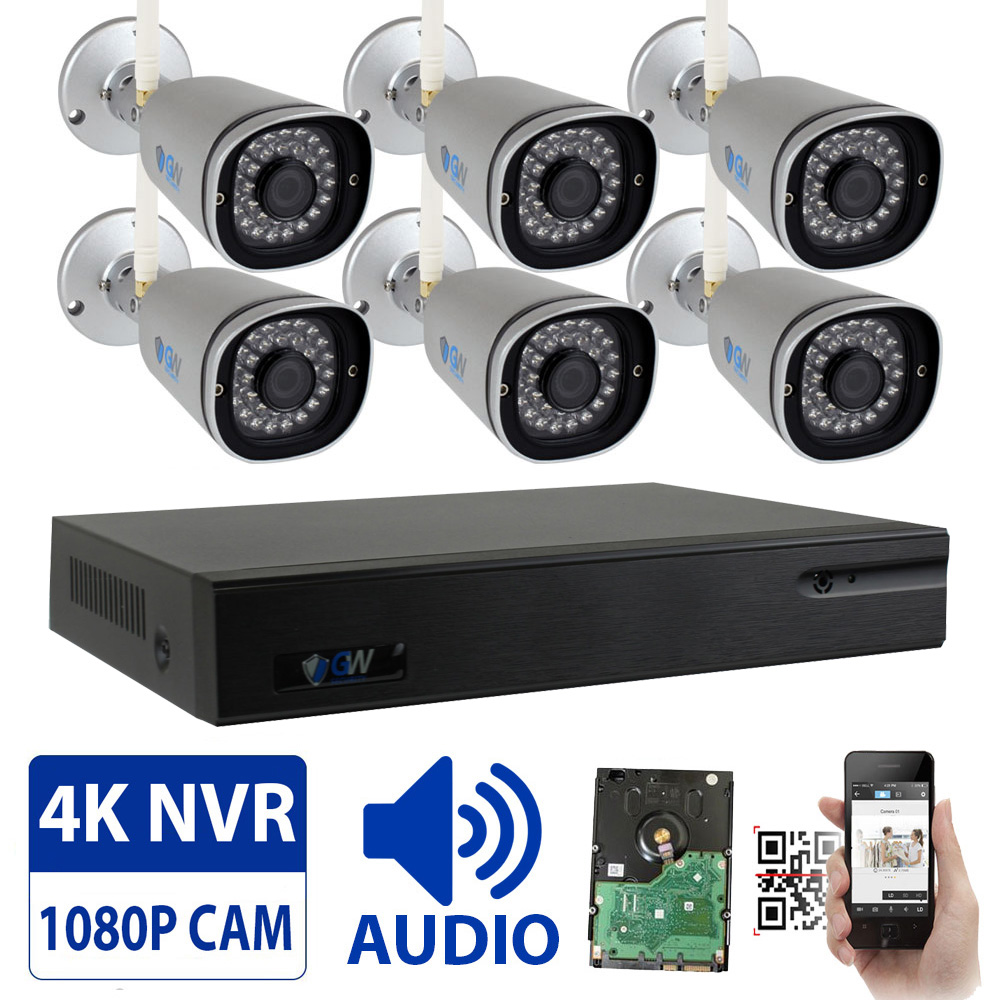 Audio & Video, Wireless Security Camera System 9CH 4K NVR with 4 x 2MP HD 1080P WiFi IP Cameras and 1TB HDD, Built-In Microphone, Weatherproof, 100FT IR Night Vision