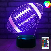 3D Remote Night Stand Light, EpicGadget Touch Control Optical Illusion Visualization LED Night Light Lamp 7 Colors Changing Remote Control Night Light Lamp Stand (Football)