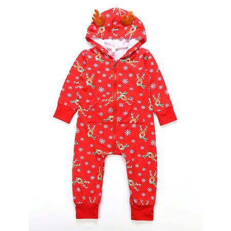 Family Matching Christmas Pajamas Set Adult Baby Jumpsuit Hoodie Sleepwear - Pajamas Family Matching