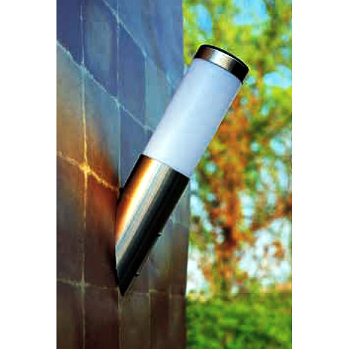 Opaque and Stainless Steel Angled Solar Wall Light