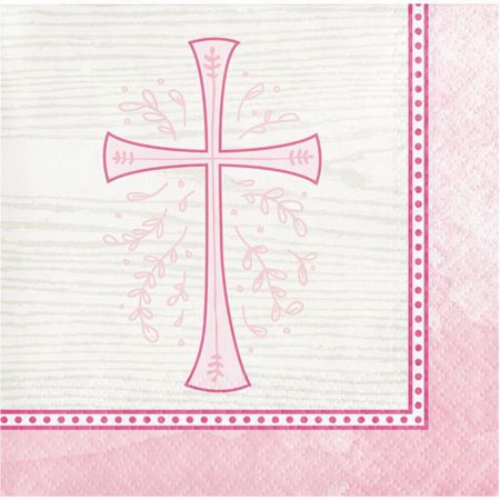 Christening Party Supplies (Divinity Pink Cross 16 Ct Beverage Napkins Baptism Confirmation Communion)