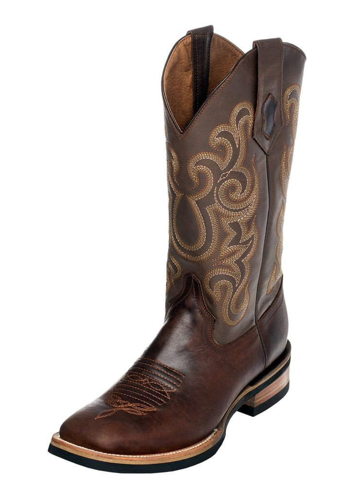 Ferrini Western Boot Men Maverick Rubber Sole Square Toe Choc 15093-09 by Ferrini