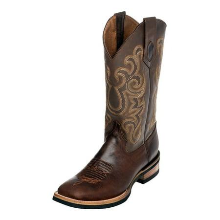 Ferrini Western Boot Men Maverick Rubber Sole Square Toe Choc 15093 09