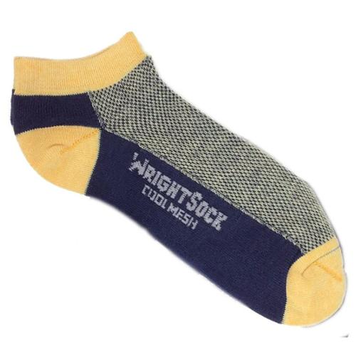 504 Double Layer Coolmesh Low Quarter Sock, Navy / Yellow, Small