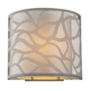 Autumn Breeze 1-Light Sconce in Brushed Nickel with Fabric and Metal