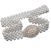 Women Faux Pearl Beads Rhinestone Dress Elastic Belt Party Dress Waistband Bead Wedding Sash