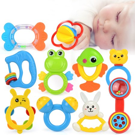 Baby Rattles Teether Toys, Infant Shaking Bell Rattle Set Early Educational Toys for 3, 6, 9, 12 Month Baby Infant,