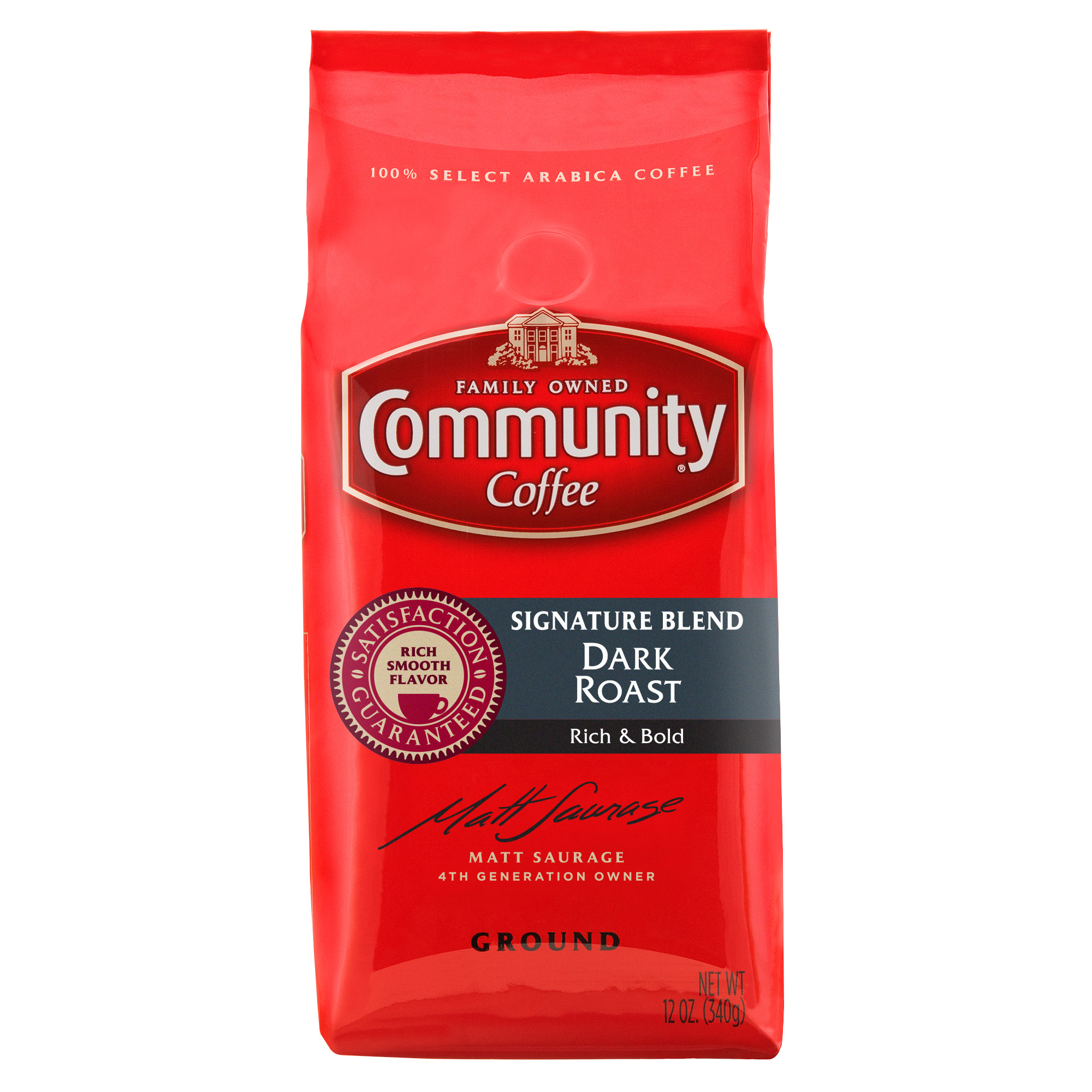 Community Coffee Premium Ground Signature Blend Dark Roast Coffee, 12 Ounce