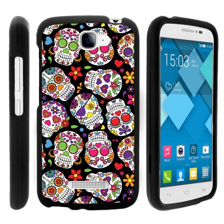 Alcatel Fierce 2, Pop Icon, 7040T, and A564C, [SNAP SHELL][Matte Black] 2 Piece Snap On Rubberized Hard Plastic Cell Phone Cover with Cool Designs - Sugar Skull Design ()
