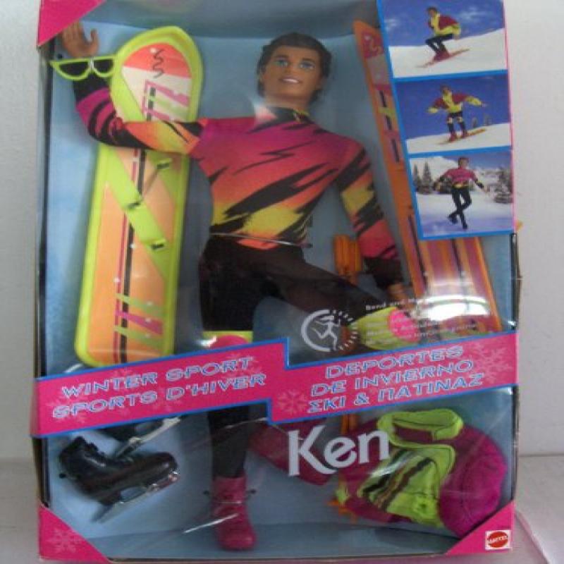 Mattel Barbie Ken Winter Sport Snowboard Ski Skate Doll