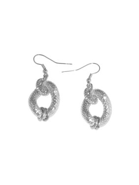 X & O Sterling Silver and White Bronze plated twisted textured drop earring