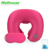 Wellhouse Set Of 3 Inflatable U Shape Neck Pillow Portable Neck Cushion Travel Pillow For Head & Neck Care