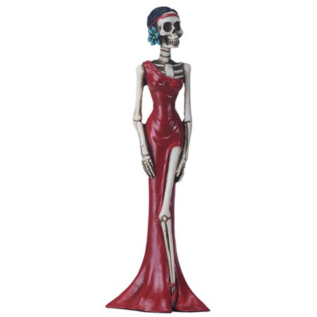 Red Lady Skeleton in Red Dress Day of the Dead Dia de los Muertos Figurine