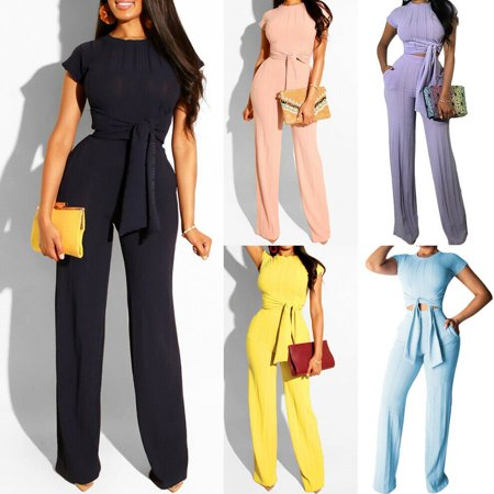 1920s Womens Outfits (Women 2 Piece Outfits Short Sleeve Crop Top Pant Set Slim Casual Jumpsuit)