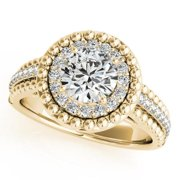 14k Gold 1 1/5ct Vintage Halo Round Cut Diamond Engagement Ring (G-H, SI1-SI2) 14k Yellow Gold - Size 6