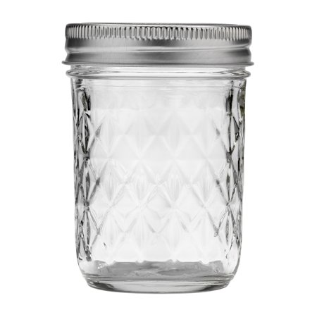 Ball Quilted Crystal Mason Jar w/ Lid & Band, Regular Mouth, 8 Ounces, 12 Count - Mason Jar Mini