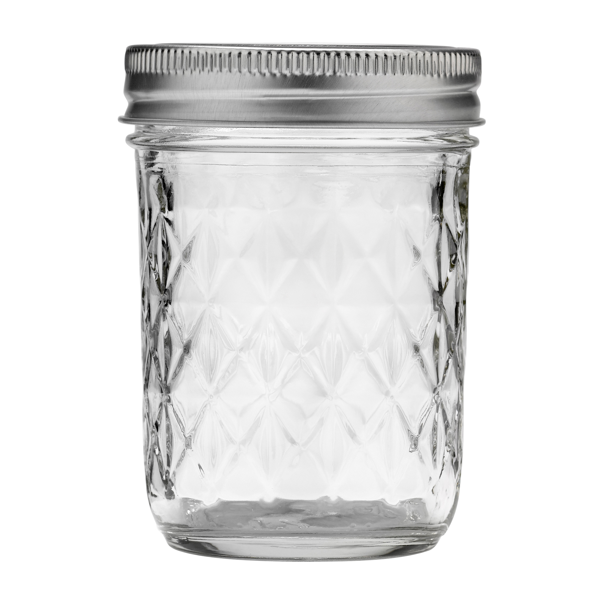 Ball Quilted Crystal Regular Mouth Half Pint 8 Oz. Glass Mason Jars With  Lids