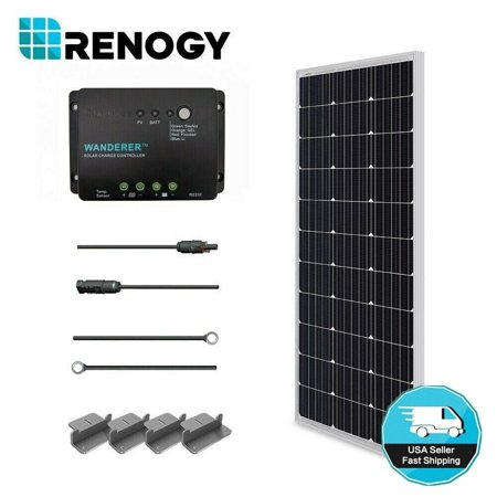 Renogy 100W 12V Solar Panel Monocrystalline Off Grid Starter Kit with 30A Wanderer Charger (Solar Panel Briefcase)