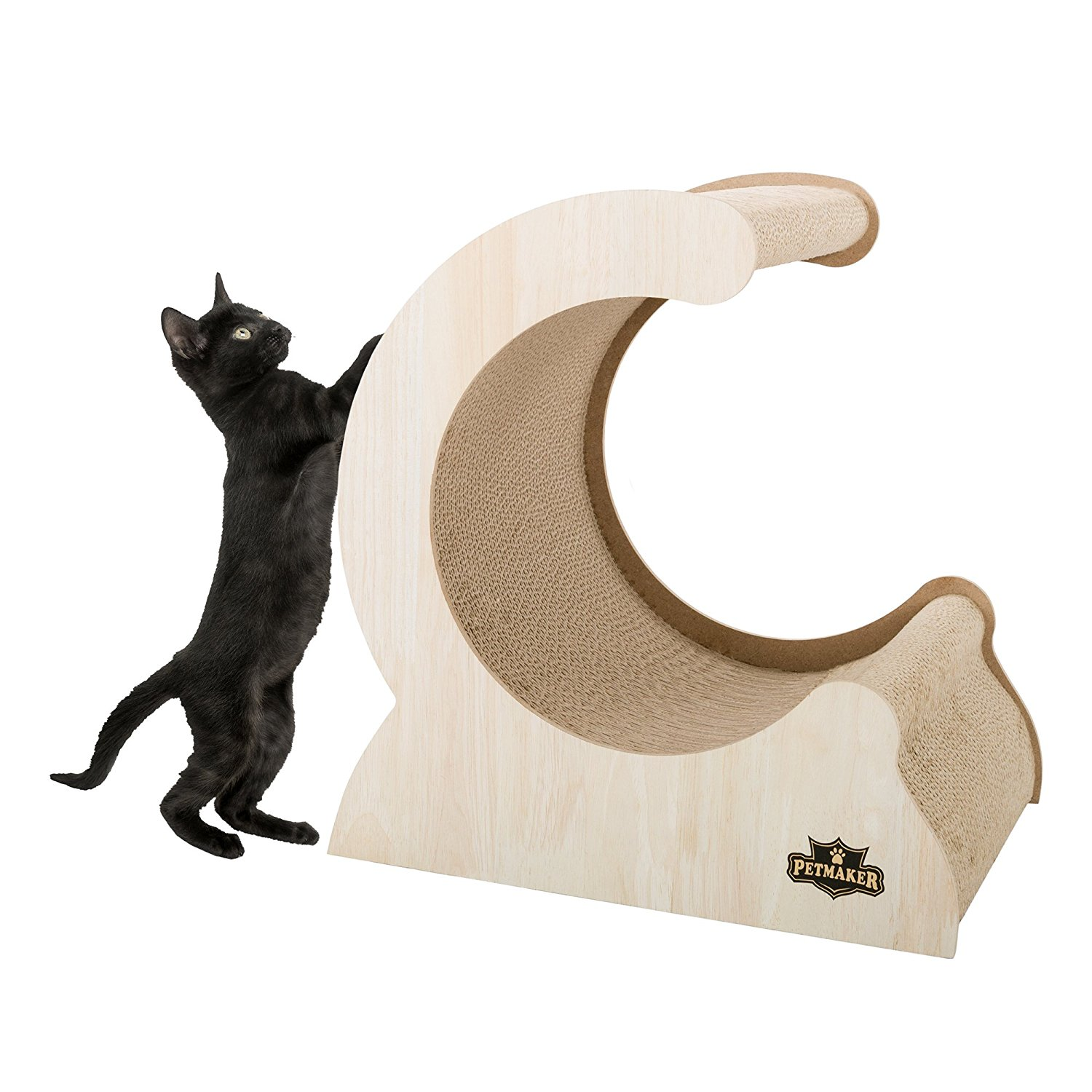 Cat Scratching Post- Wood and Cardboard Incline Vertical Scratcher Station for Kittens and Large Cats,... by