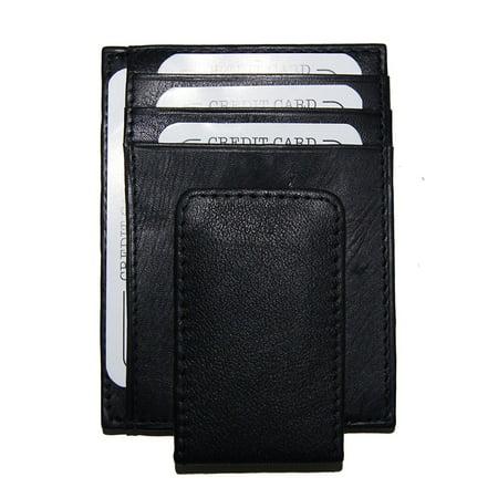 Improving Lifestyles Leather Black Magnetic Money Clip Window ID FREE Organza Gift Bag. SUN2892CFBK ()