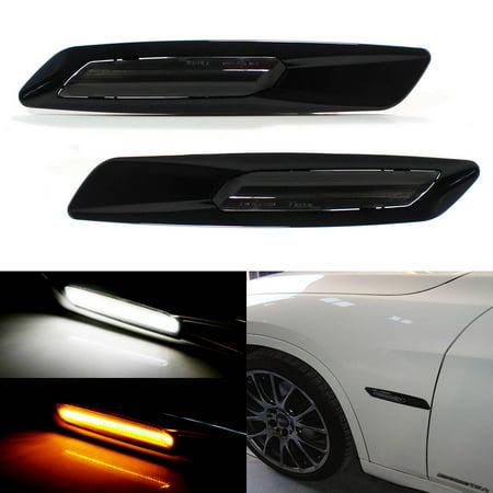 Led Side Marker Lamp (iJDMTOY BMW F10 Style White/Amber Switchback LED Light Black Finish Side Marker Lamps For BMW E90 E92 E60 1 3 5 Series X1)