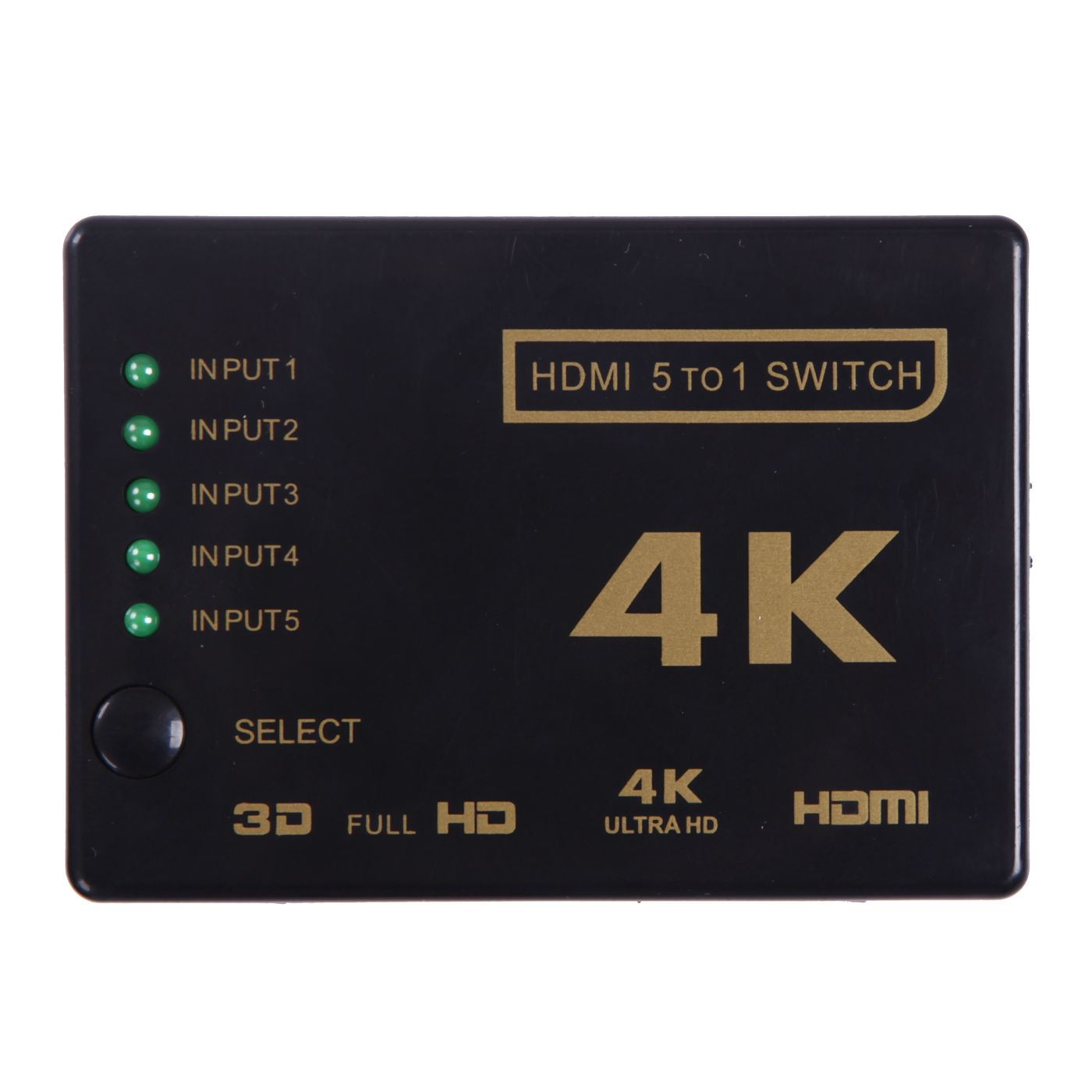 HDE 5 Port HDMI Switch [4K Ultra HD 3D Compatible] Full HD 2K 1080P 5x1 Selector Box with Remote and Power Adapter