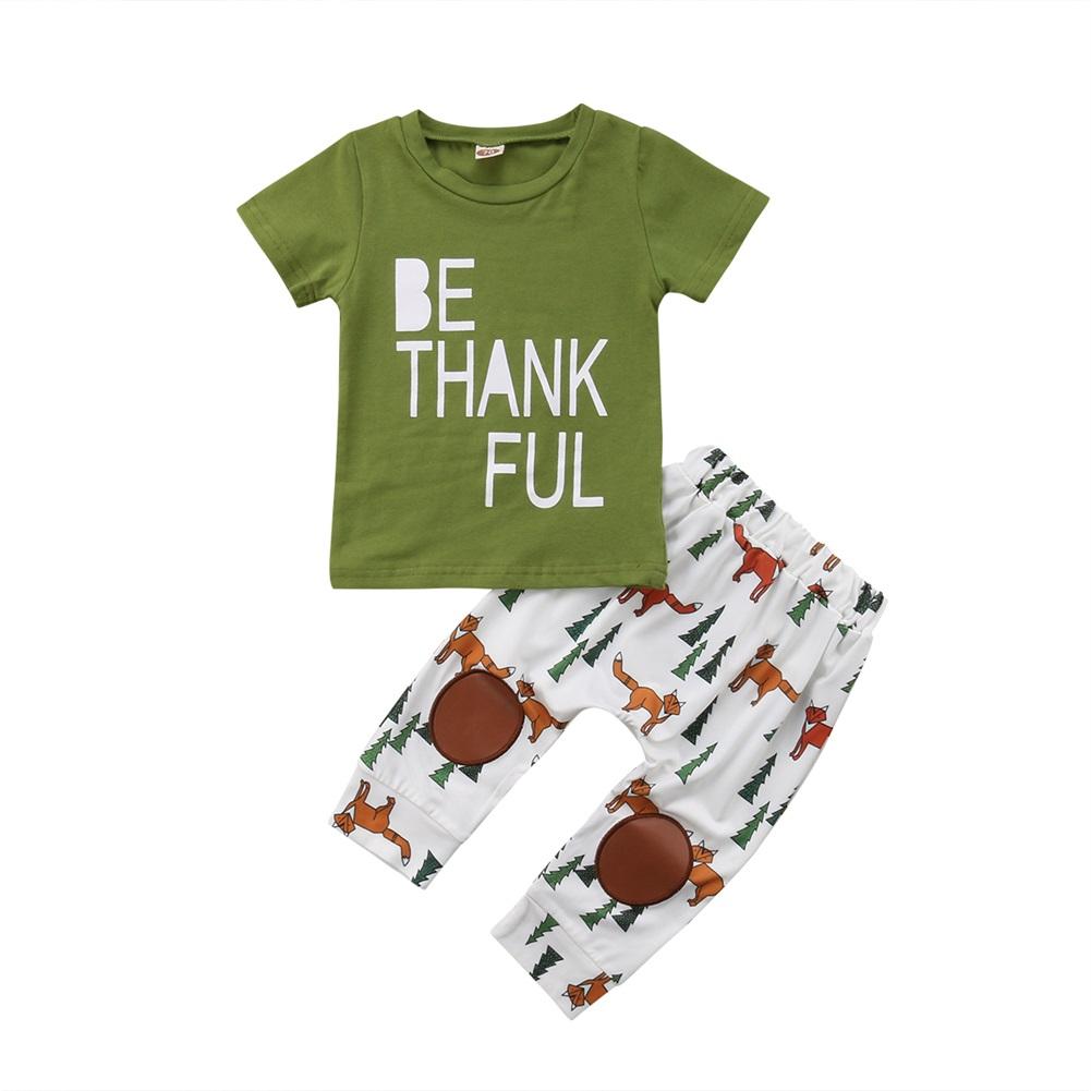 f420d2104 XIAXAIXU - Newborn Infant Kids Baby Boy Summer Outfit Sets Shirt T-shirt  Tops+Long Fox Printed Pants Clothes 0-6 Months - Walmart.com