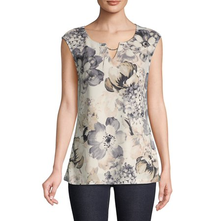 Floral Sleeveless Blouse Calvin Klein Womens Sleeveless