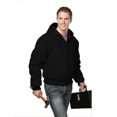 Tri-Mountain Timberline 4600 Cotton hooded work jacket, 2X-Large, Black/Black