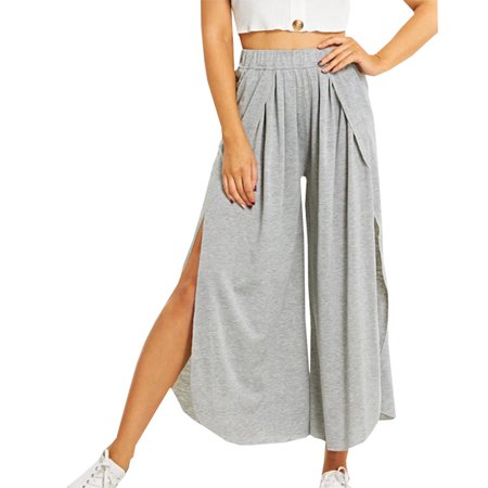 TURNTABLE LAB 2019 New Fashion Women Elastic Waist Side Split Long Pants Loose Wide Leg