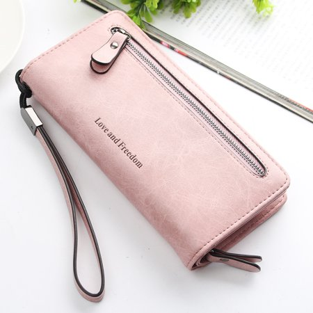 PU Leather Long Wallet Clutch Handbag Zipper Organizer Wristlets Card Cellphone Holder Purse for Women Lady Girls 7.9inch ()