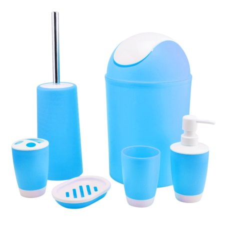 6 piece bathroom accessories set lotion pump plastic for Coloured bathroom accessories set