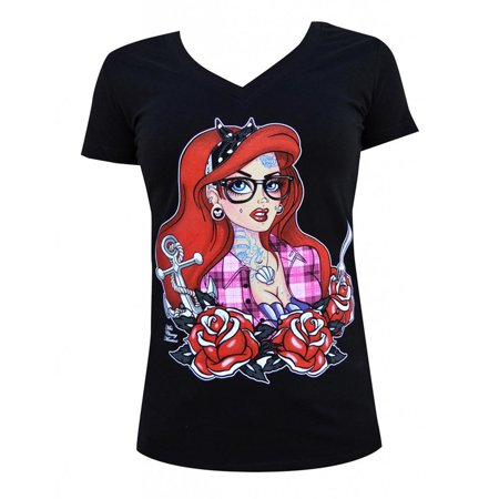 (Women's Tattooed Mermaid V Neck T-Shirt by Miss Cherry Martini Black)