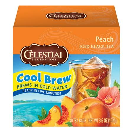 Celestial Seasonings Iced Tea, Peach Cool Brew, 40 Count (Pack of 6)
